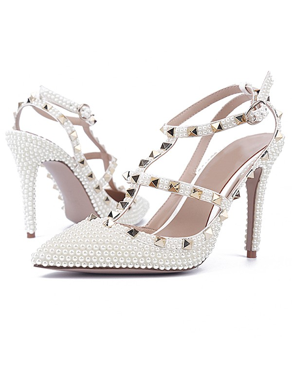 Chicregina Womens Patent Leather Stiletto Heel Closed Toe Evening Shoes with Rivet