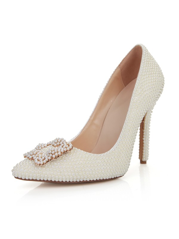 Chicregina Womens Patent Leather Stiletto Heel Closed Toe Wedding Shoes with Pearl
