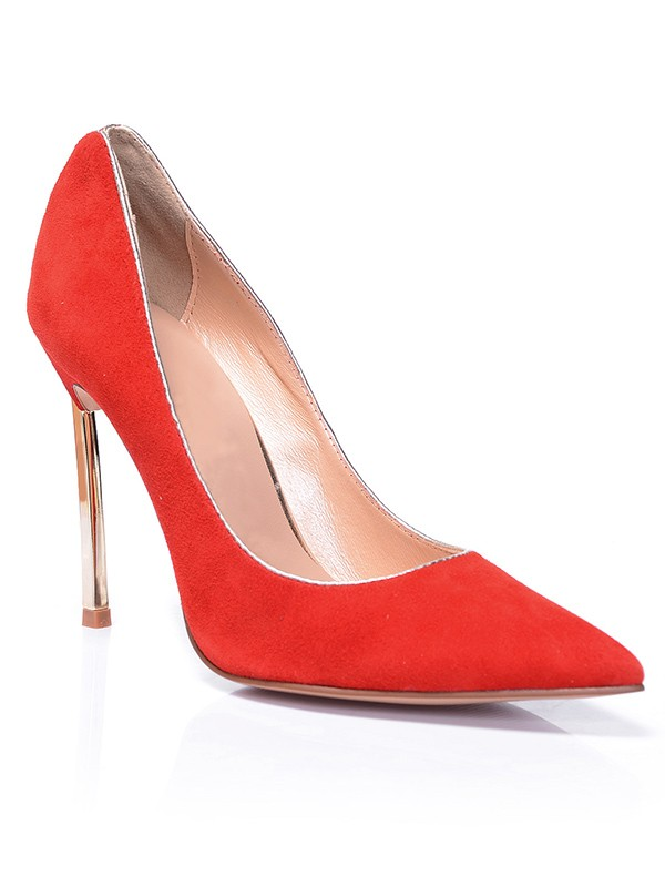 Chicregina Womens Red Closed Toe Suede Stiletto Heel Evening Shoes