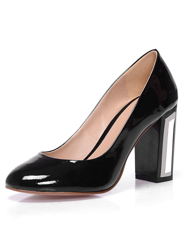 Chicregina Womens Chunky Heel Patent Leather Closed Toe Office Shoes