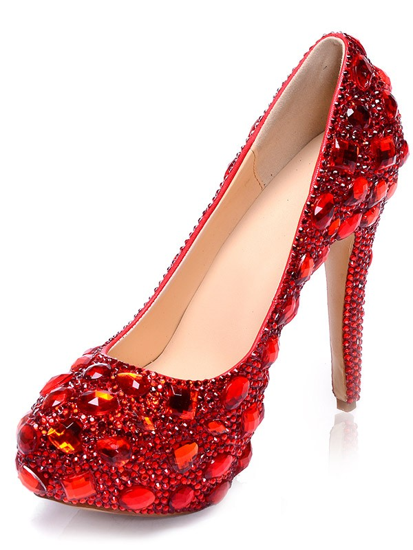 Chicregina Womens Patent Leather Platform Closed Toe Stiletto Heel Party Shoes with Rhinestone