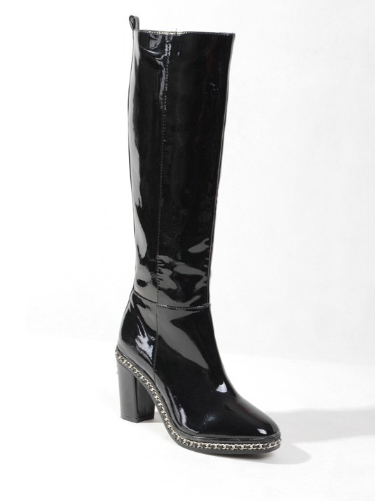 Chicregina Womens Patent Leather Closed Toe Platform Chunky Heel with Chain Knee High Boots