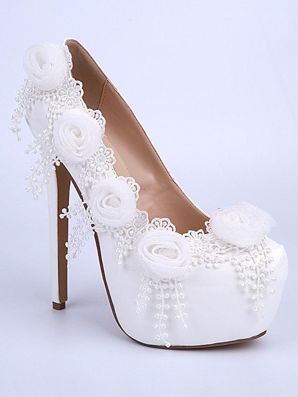 Chicregina Womens Closed Toe Stiletto Heel Patent Leather Bridal Shoes with Flower