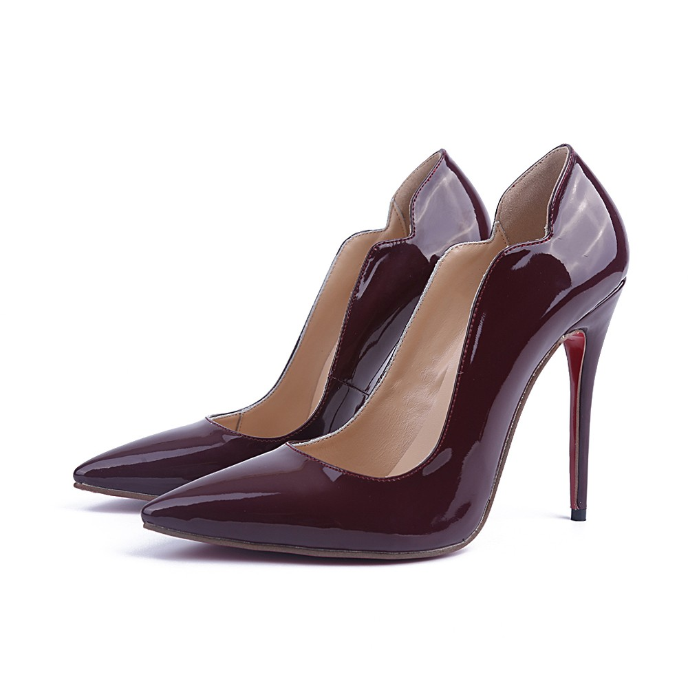 Chicregina Womens Patent Leather Stiletto Heel Closed Toe Office Shoes