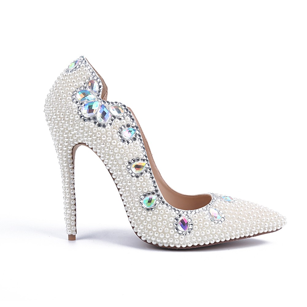 Chicregina Womens Stiletto Heel Patent Leather Closed Toe Bridal Shoes with Pearl