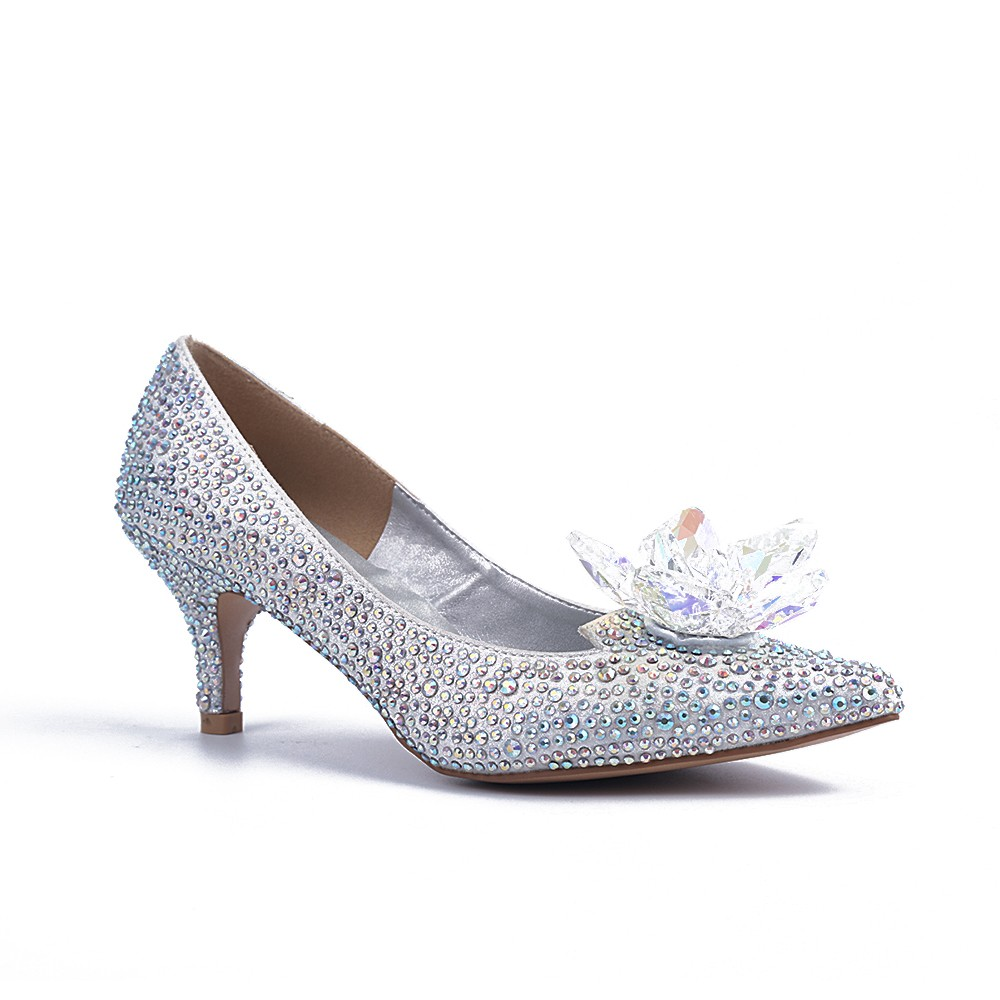 Chicregina Womens Closed Toe Cone Heel Wedding Shoes with Crystal Flower Party Shoes