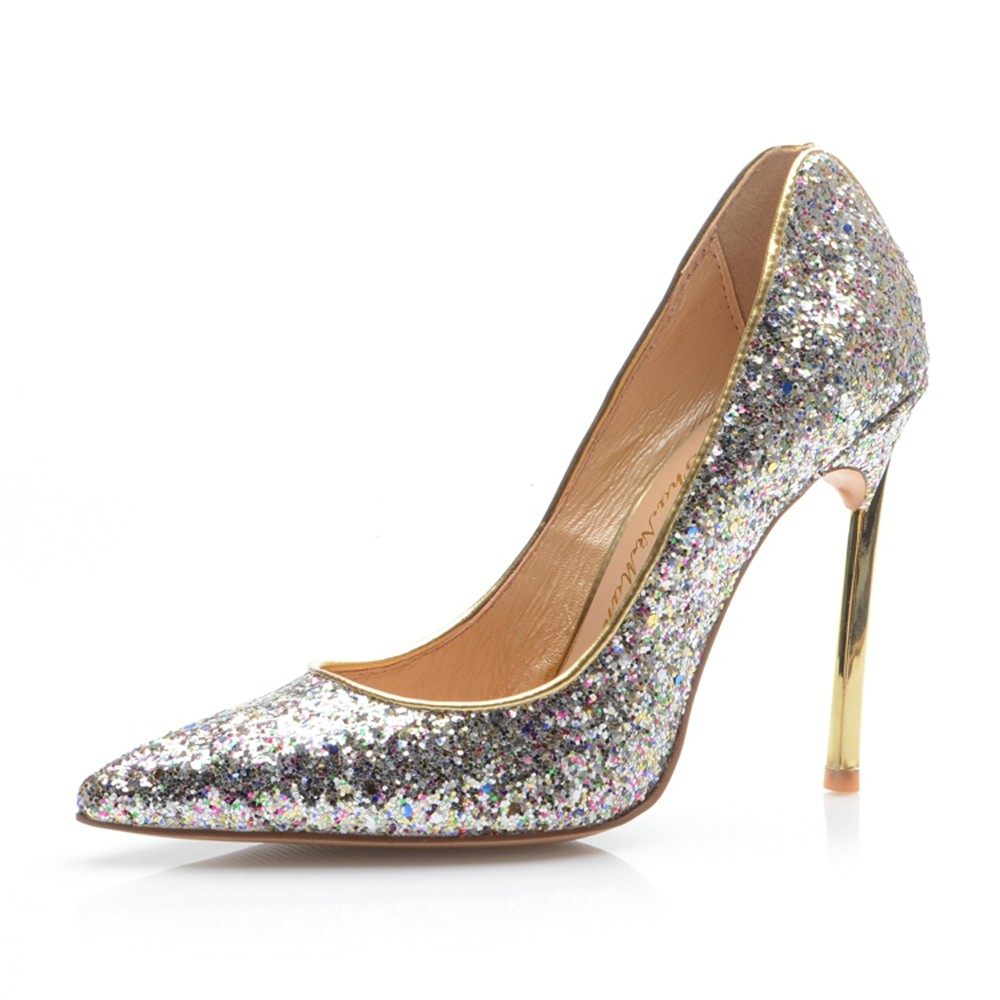 Chicregina Womens Closed Toe Stiletto Heel Evening Shoes with Sequin