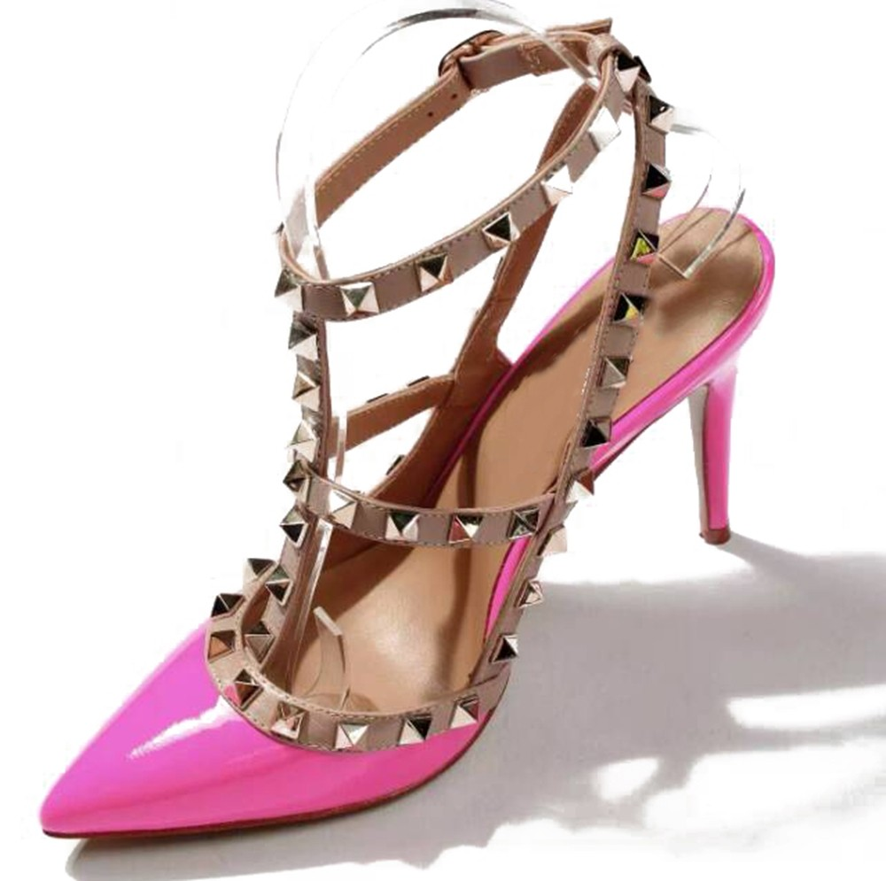 Chicregina Womens Stiletto Heel Patent Leather Closed Toe Sandal Shoes with Rivet