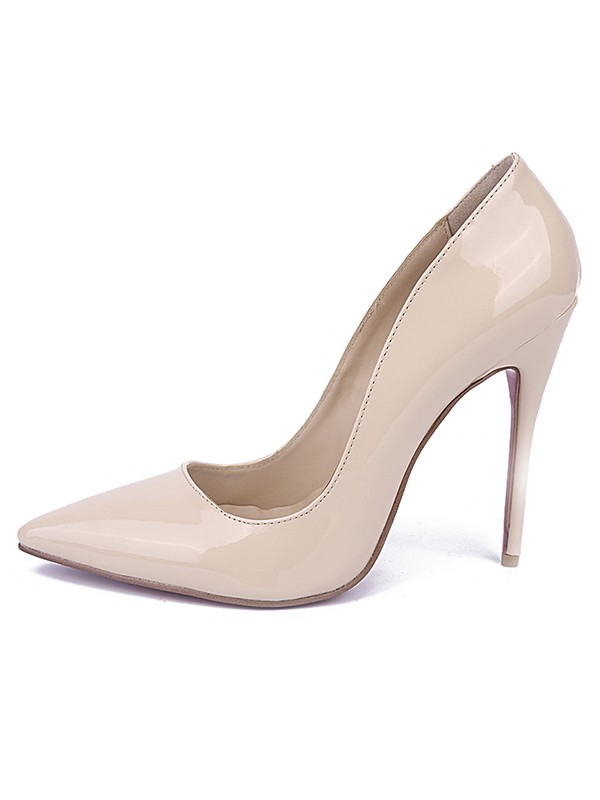 Chicregina Womens Patent Leather Closed Toe Stiletto Heel Office Shoes