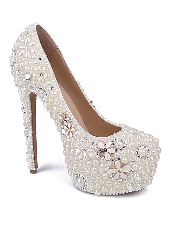 Chicregina Womens Patent Leather Closed Toe Stiletto Heel with Pearl Rhinestone Shoes