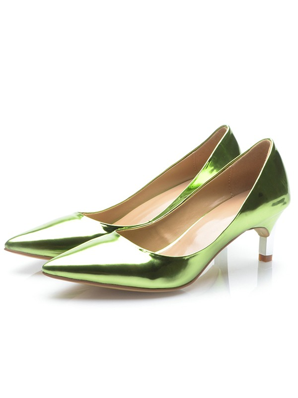 Chicregina Womens Green Patent Leather Closed Toe Cone Heel Party Shoes