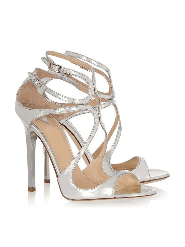 Chicregina Womens Patent Leather Peep Toe Stiletto Heel Sandal Shoes with Buckle
