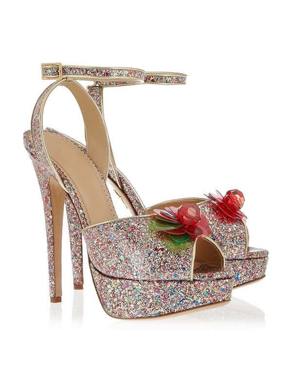 Chicregina Womens Peep Toe Stiletto Heel Platform Shoes with Flower