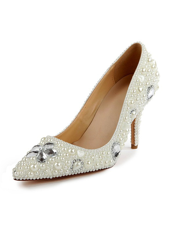 Chicregina Womens Patent Leather Closed Toe Stiletto Heel Bridal Shoes with Pearl