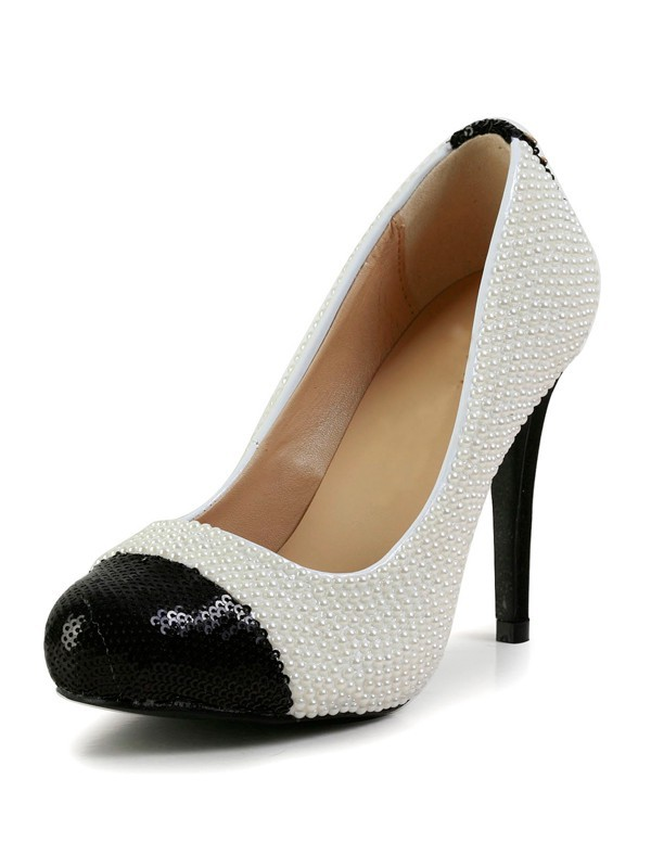 Chicregina Womens Stiletto Heel Patent Leather Closed Toe Platform Shoes with Pearl