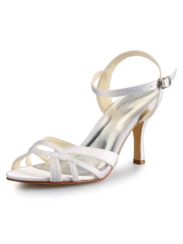 Chicregina Womens Cone Heel Peep Toe Satin Dance Shoes with Buckle Sandal