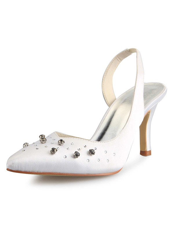 Chicregina Womens Slingbacks Cone Heel Closed Toe Satin Bridal Shoes with Rhinestone