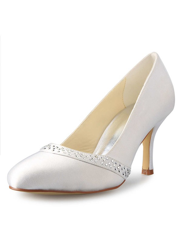 Chicregina Womens Stiletto Heel Closed Toe Satin with Rhinestone Wedding Shoes