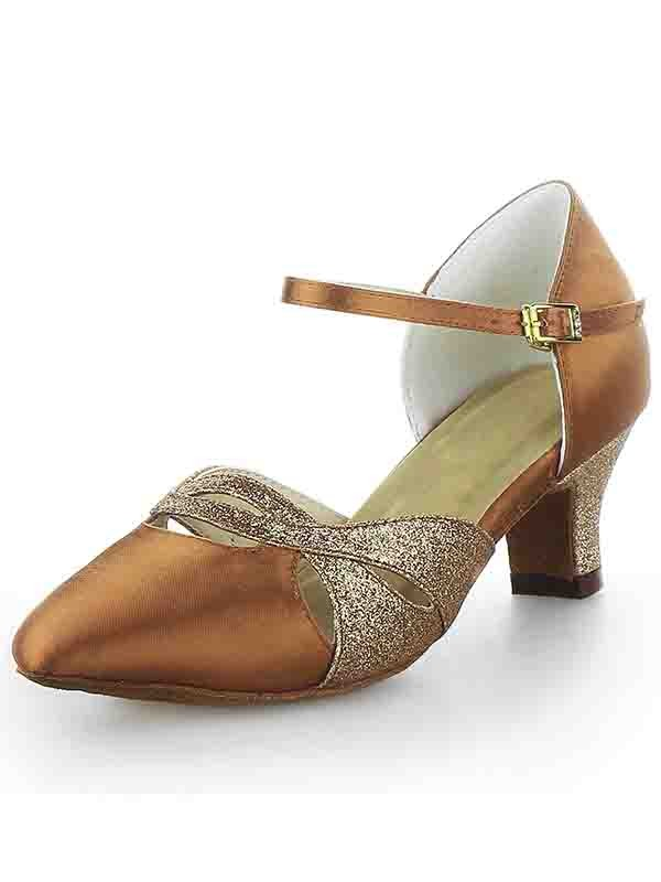Chicregina Womens Satin Closed Toe Spool Heel Dance Shoes with Buckle Sparkling Glitter