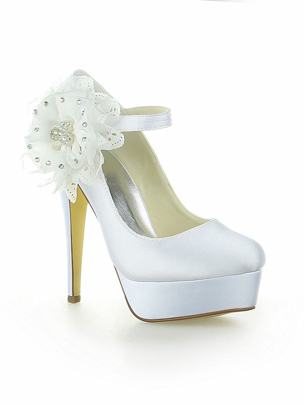 Chicregina Womens Satin Platform Closed Toe Wedding Shoes with Flower Stiletto Heel