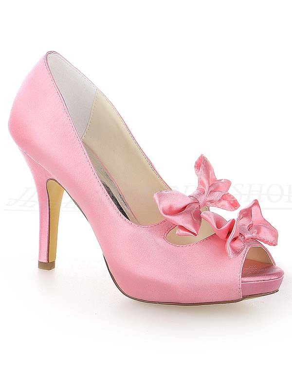 Chicregina Womens Satin Peep Toe Cone Heel Platform Wedding Shoes with Bowknot