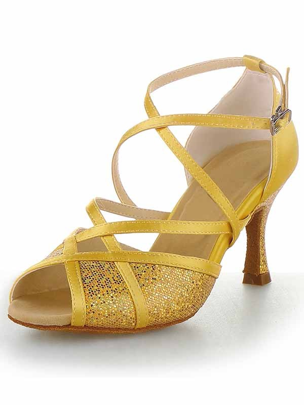 Chicregina Womens Satin Peep Toe Stiletto Heel Latin Dance Shoes with Buckle