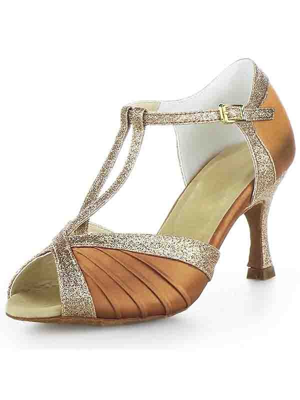 Chicregina Womens Stiletto Heel Satin Peep Toe Ballroom Dance Shoes with Buckle Sparkling Glitter