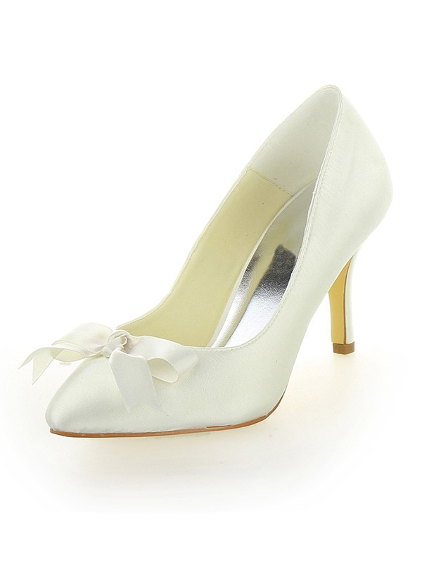 Chicregina Womens Cone Heel Satin Closed Toe Bridal Shoes with Bowknot