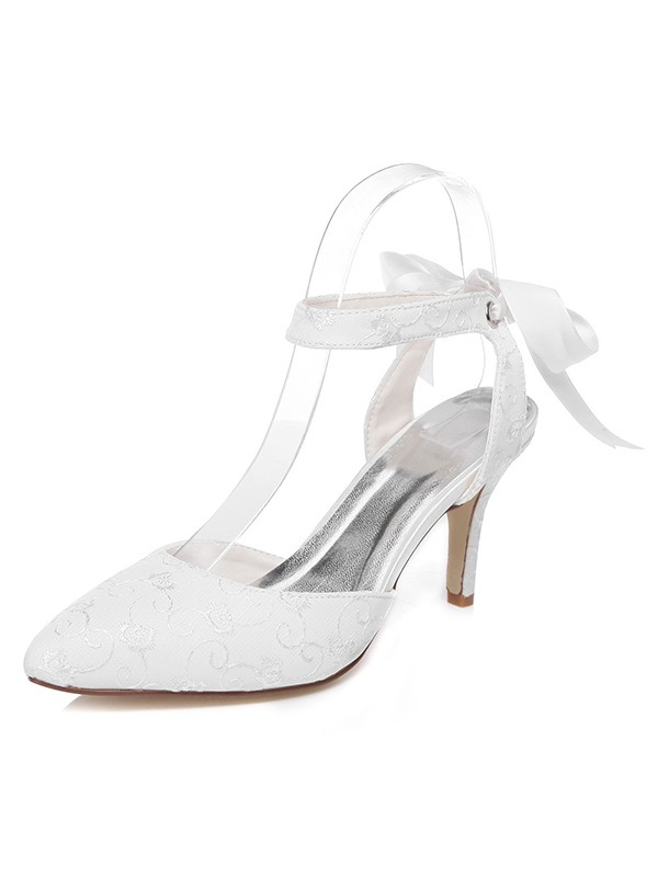 Chicregina Womens Spool Heel Satin Closed Toe Bridal Shoes with Bowknot