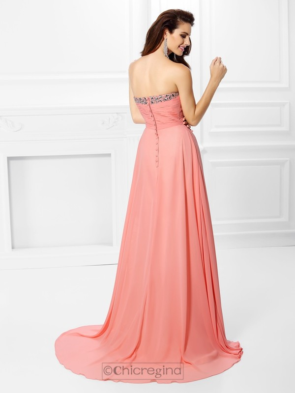 Chicregina Sweep Train A-Line/Princess Sweetheart Chiffon Dress with Pleats
