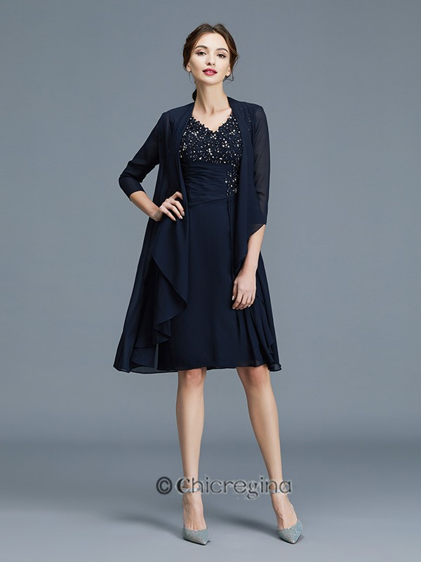 Sheath/Column V-neck Ruffles Chiffon Sleeveless Knee-Length Mother of the Bride Dresses