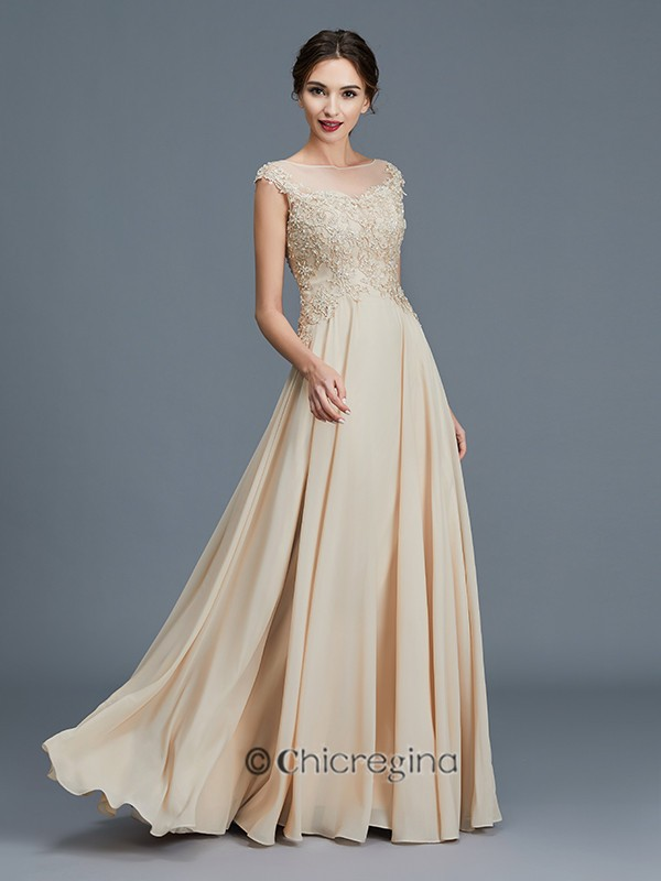 A-Line/Princess Scoop Sleeveless Ruffles Chiffon Floor-Length Mother of the Bride Dresses
