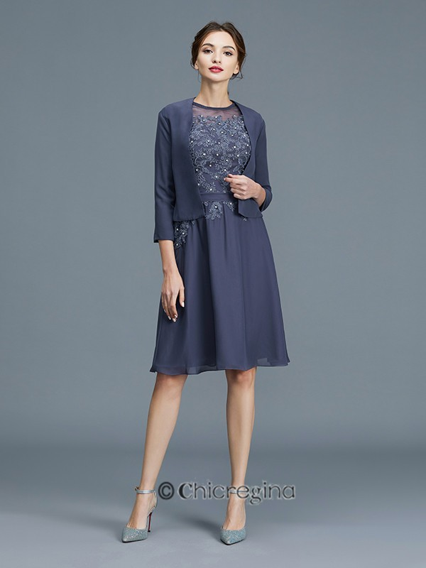 A-Line/Princess Scoop Chiffon Sleeveless Beading Knee-Length Mother of the Bride Dresses