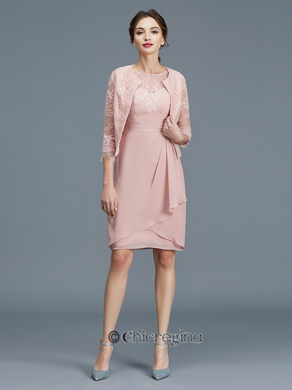 Sheath/Column Sheer Neck Ruffles Chiffon Sleeveless Knee-Length Mother of the Bride Dresses