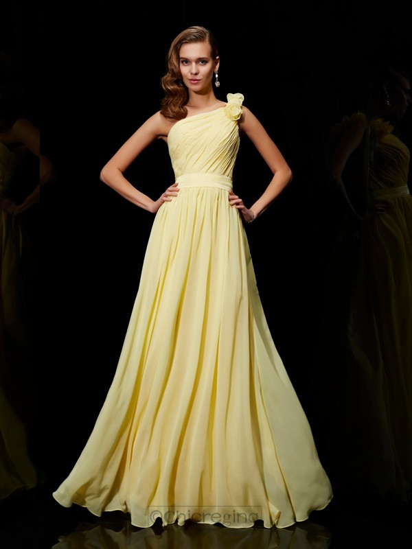 Chicregina A-Line Chiffon One-Shoulder Bridesmaid Dress With Sash