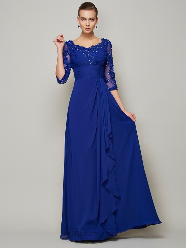 Chicregina A-Line Chiffon Scoop 3/4 Sleeves Long Mother Of The Bride Dress With Pleats