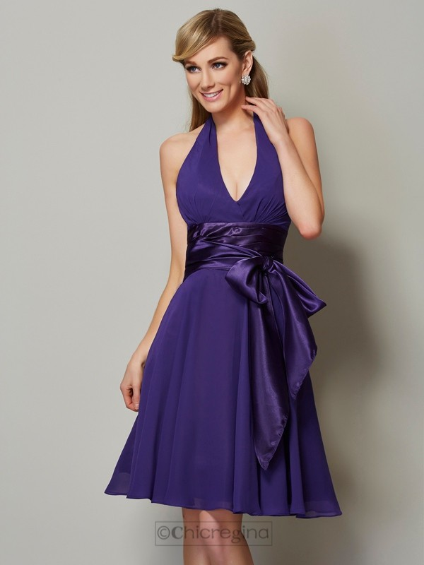 Chicregina A-Line Halter Knee-Length Chiffon Bridesmaid Dress With Ruched