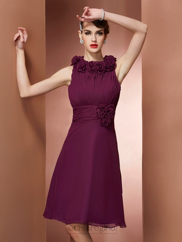 Chicregina A-Line High Neck Hand-Made Flower Knee-Length Bridesmaid Dress With Embroidery