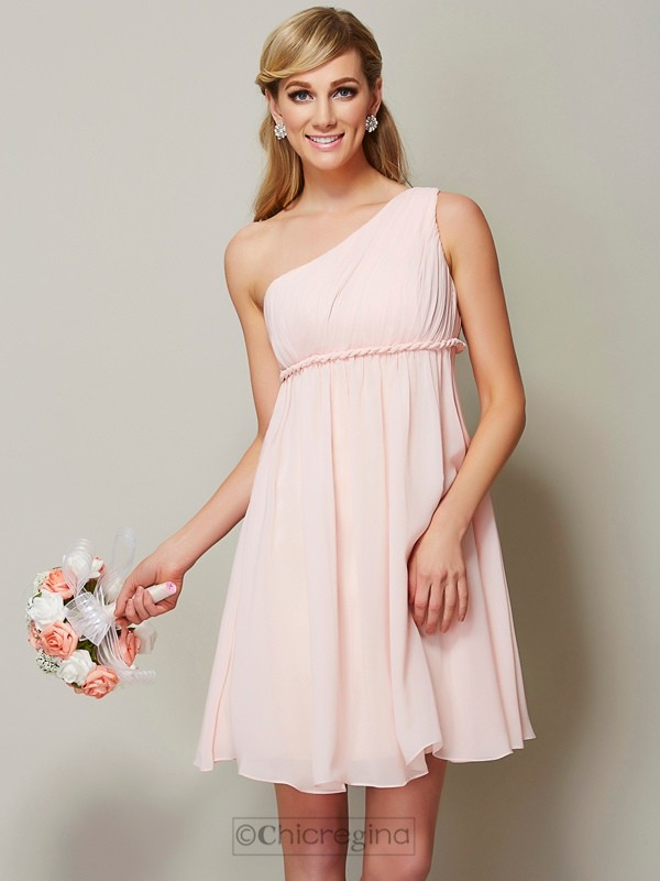 Chicregina A-Line One-Shoulder Knee-Length Chiffon Bridesmaid Dress With Ruffles