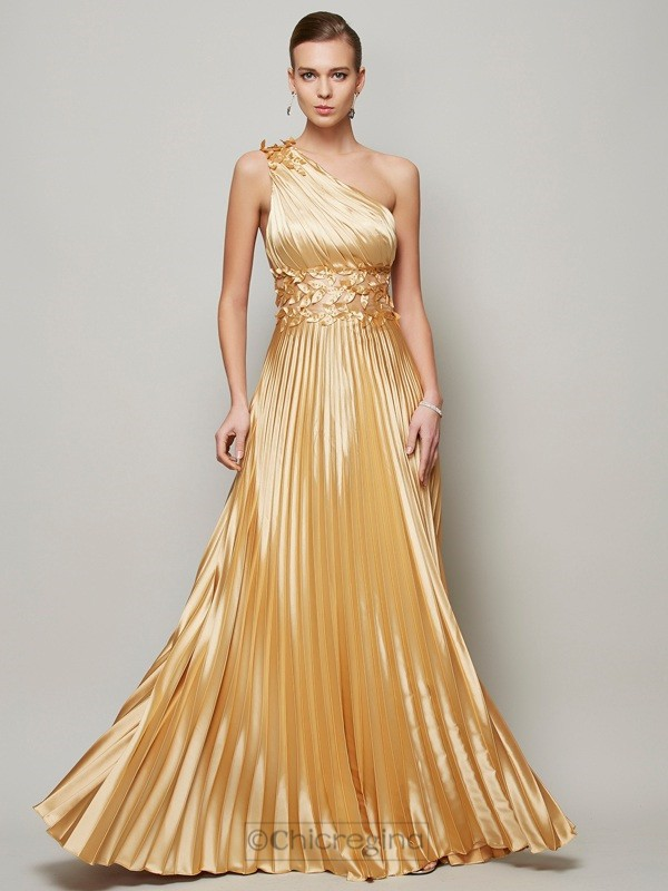 Chicregina A-Line One-Shoulder Long Elastic Woven Satin Dress With Beading