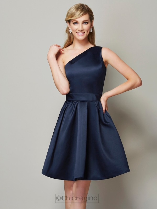 Chicregina A-Line One-Shoulder Satin Mini Bridesmaid Dress With Embroidery
