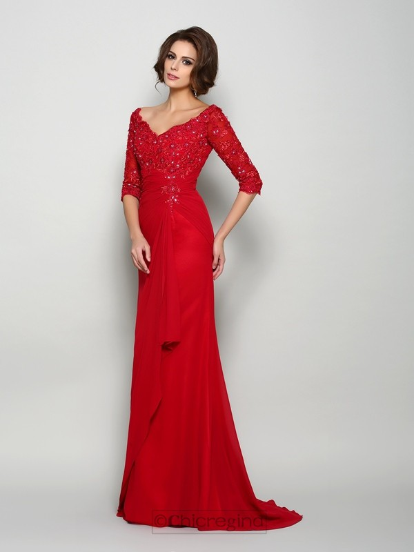 Chicregina A-Line/Princess 1/2 Sleeves V-neck Chiffon Sweep/Brush Train Mother Of The Bride Dress with Beading