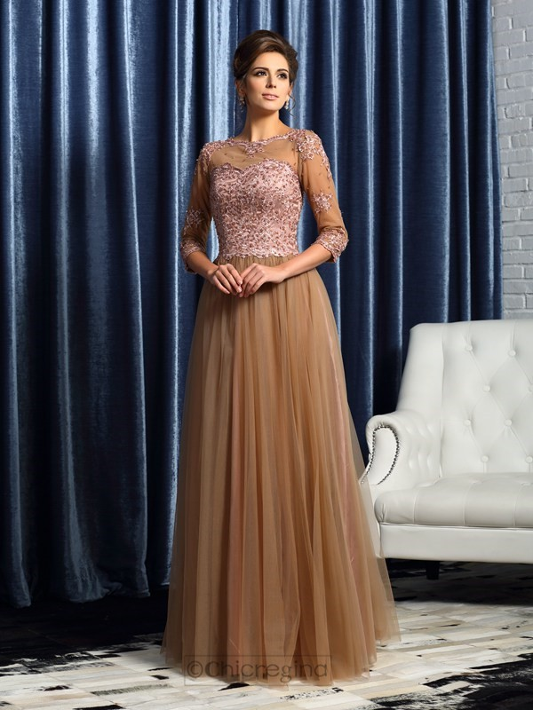 Chicregina A-Line/Princess 3/4 Sleeves Scoop Long Elastic Woven Satin Mother Of The Bride Dress with Beading