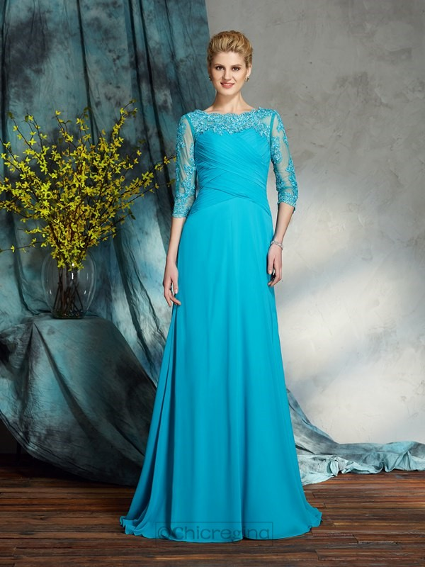 Chicregina A-Line/Princess Bateau 3/4 Sleeves Chiffon Floor-Length Mother of the Bride Dress with Beading Applique