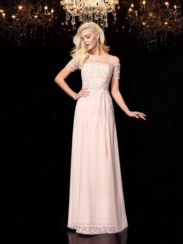 Chicregina A-Line/Princess Beading Bateau Short Sleeves Floor-Length Chiffon Dress with Ruffles