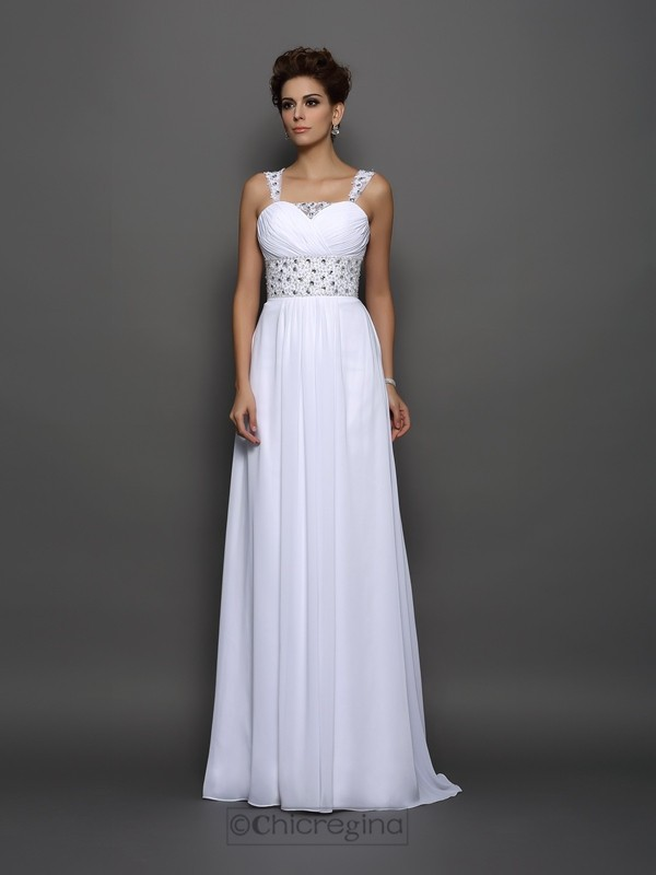 Chicregina A-Line/Princess Chiffon Straps Court Train Wedding Gown with Sash