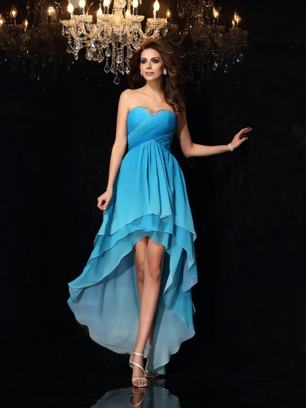 Chicregina A-Line/Princess Chiffon Sweetheart Asymmetrical Ruched Dress with Beading
