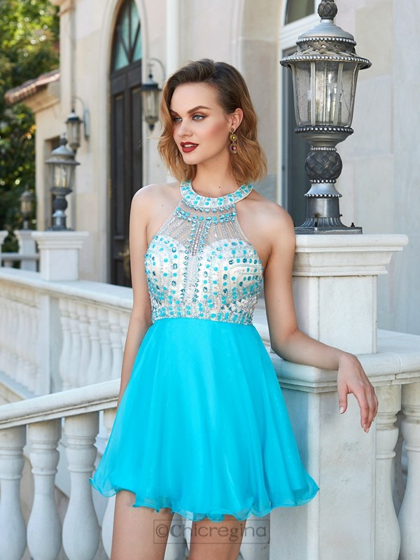 Chicregina A-Line/Princess Halter Sleeveless Chiffon Short Prom Gown with Beading