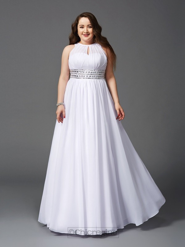 Chicregina A-Line/Princess Jewel Floor-Length Chiffon Plus Size Dress with Rhinestone Beading