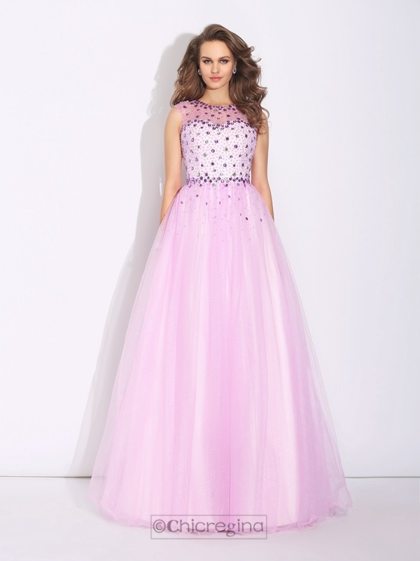Chicregina A-Line/Princess Jewel Floor-Length Net Dress with Ruffles Rhinestone